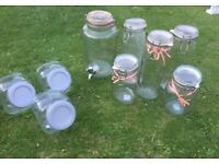 Wedding Vintage Jars x 8 & Drinks Dispenser
