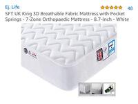 New King Size Orthopadic Mattress - White