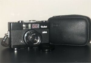 MINT ! Black Rollei 35 B with original pouch , strap , manual