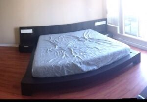 King size bed frame with side tables