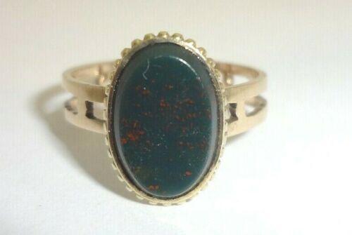 Antique Ladies 10K-14K Rose Gold Ring with Bloodstone