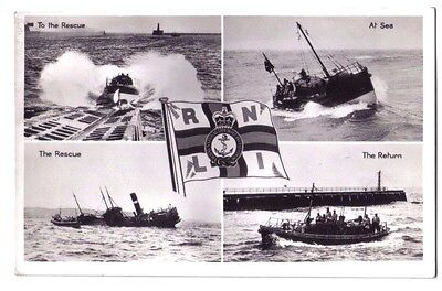 RNLI R.N.L.I Lifeboat BOAT COAST GUARD LAUNCH RESCUE OLD RP PHOTO POSTCARD