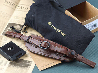 Herringbone Heritage Hand Strap Grip for DSLR Antique Brown Type2 No Plate