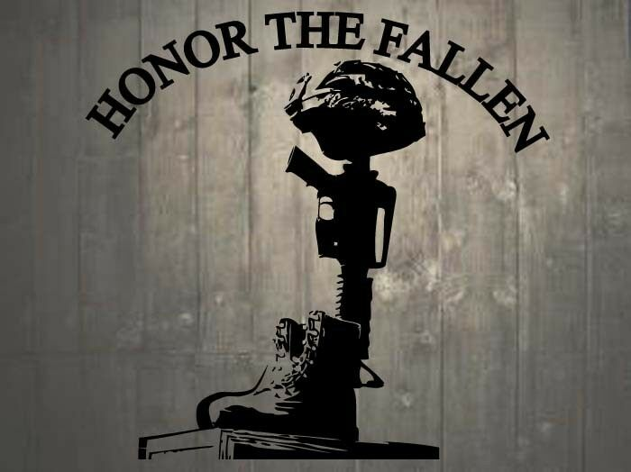 "Helmet Rifle Boots Fallen Soldier Quote Memorial Wall Sticker 22""h x 22""w"