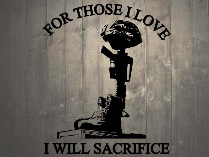 "Helmet Rifle Boots Fallen Soldier Quote Memorial Wall Sticker 25""h x 22""w"