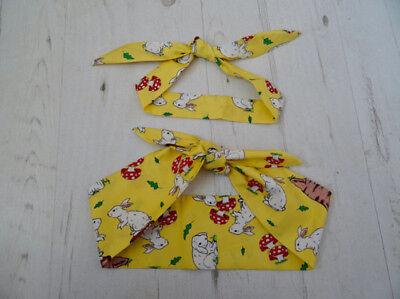 Matching Mum & Baby Head Scarf - Yellow Rabbits - Cotton Bib Baby Shower Bandana