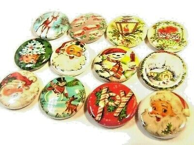 12 Vintage CHRISTMAS Images ONE Inch Buttons 1
