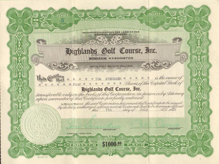 Highlands Golf Course > Aberdeen Washington 1929 stock certificate share