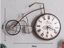 Vintage iron art bicycle clock Hanging Wall Art Leaves Bird Garden Sculpture