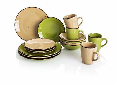 Puro Grün (Kaffee und Tafelservice PURO grün/warmes beige 16.tlg Feinsteinzeug shabby look)