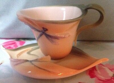 FRANZ PORCELAIN DRAGONFLY AND WHEAT CUP & SAUCER MINT CONDITION DISPLAYED ONLY