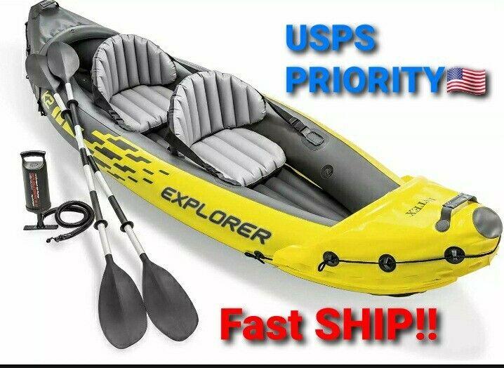 🔥NEW Intex K2 Explorer 2 Person Inflatable Kayak + Oars, Pump, Bag - READY SHIP