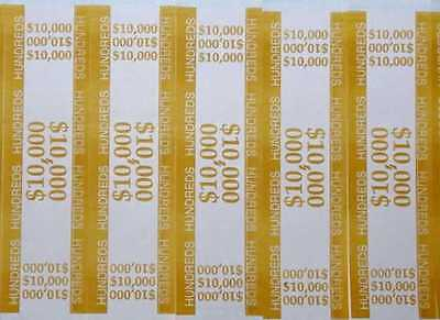 25 - Mustard 100 Self-sealing Currency Bands 10000 Cash Money Straps Hundreds