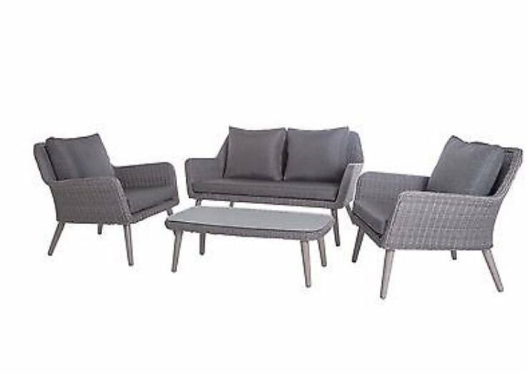 rio 4 seater rattan garden sofa set in grey