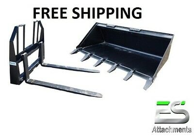 Es 60 Tooth Bucket 48 Walk Thru Pallet Forks Combo Skid Steer Free Shipping