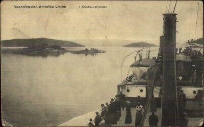 Scandinavia Line Ship Skandinavien-Amerika Line Kristianiafjorden Postcard