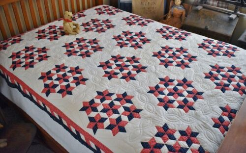 Patriotic Antique Hand Stitched Seven Sisters Quilt with Border *