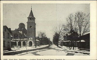 Clearfield Pa North On Second St  C1905 Postcard