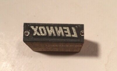 Vintage Printer Wood Metal Print Block Letterpress Type Of Lennox Logo