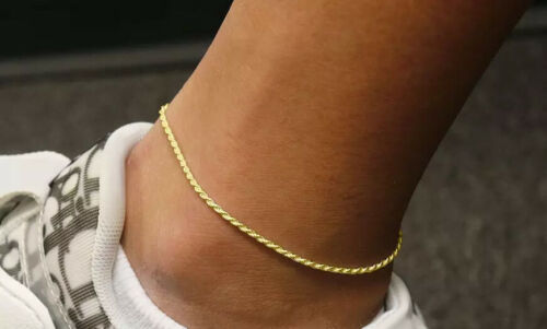 """1.5MM Solid Italian 14K Yellow Gold Rope Anklet Chain 10"""" Italy"""