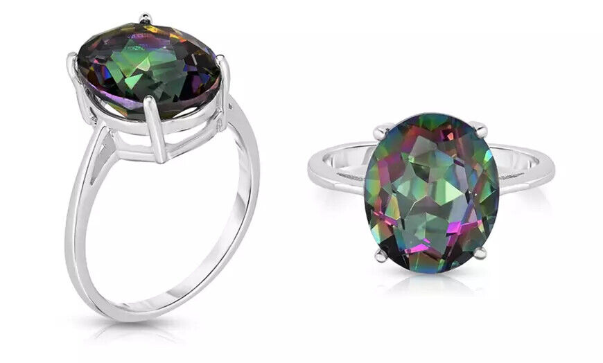 5.00 CTTW Genuine Mystic Topaz Oval Cut 925 Sterling Silver Ring Sizes 6-9