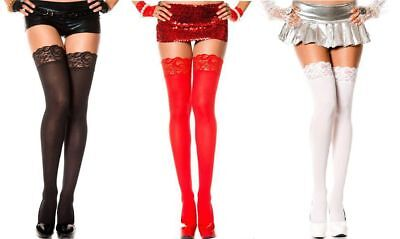 OPAQUE LACE TOP Thigh High Stockings 3 COLORS O/S & PLUS (Opaque Thigh High Stockings)