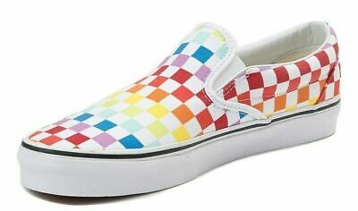 VANS SLIP ON (CHECKERBOARD) RAINBOW PRIDE WHITE SIZE WOMENS 8 / YOUTH 6.5 NEW 🔥