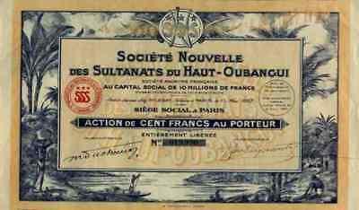 Société Nouvelle des Sultanats du Haut Oubangui 1927 Paris DEKO 100 fr. Afrika