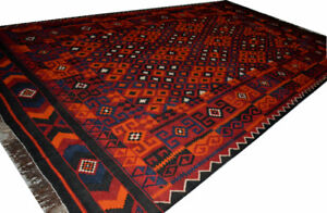 Eye-Catching 13X7'3 ft Orange and Red Kilim Rug, Afghan Multi-co