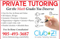 1-on-1, In-Home Tutoring - Math, Science, French, English & More