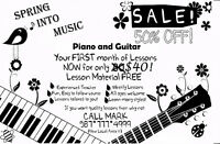 Piano Lessons:  50% off the first month!!!!