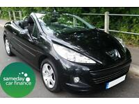 £125.92 PER MONTH BLACK 2011 PEUGEOT 207 CC 1.6 SPORT CONVERTIBLE 2 DOOR PETROL
