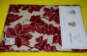 "Great for Holiday Tablecloth 60""x104"" red Grape leaves, Cotton"