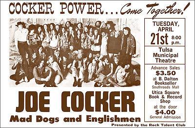 LEON RUSSELL JOE COCKER 1970 Tulsa OK Concert Poster