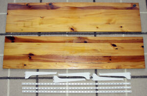 Wooden shelves, track uprights and brackets