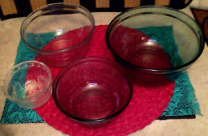4 Clear Glass Serving Bowls