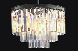 Circular 3-level chandelier w/black frame & solid crystal prism