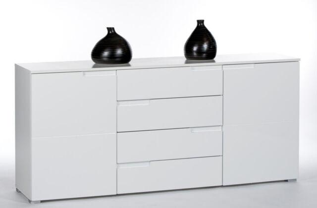 Sideboard In Weiss Hochglanz Anrichte Schrank Kommode Wohnzimmer Woody 32 00128