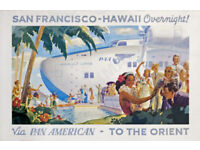 TRAVEL UNITED AIRLINE CANOE HAWAII USA PACIFIC VINTAGE ADVERTISING POSTER 2548PY