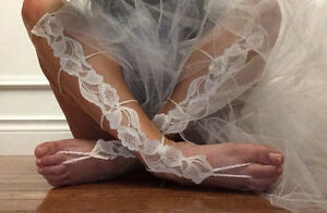 Lovely in lace Wedding Day barefoot sandals
