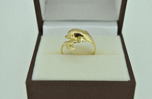 Unique 10k Yellow Gold Dolphin Ring