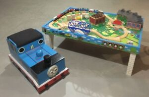 Thomas the Tank Engine Wooden toy box, table, trains & tracks.