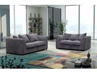BLACK/GREY OR BROWN/BEIGE- SUPREME QUALITY- BRAND NEW JUMBO CORD BYRON CORNER / 3+2 SOFA SE