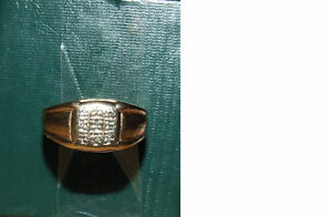 Ring #4 - 10K Yellow Gold Ring With 9 Diamonds - $100.00