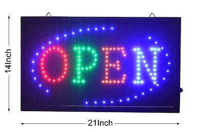 Large Animated Led Neon Business Open Sign W.motion Onoff Switch 21 X13 044