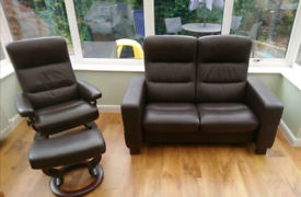 Stressless brown leather Sofa and armchair.