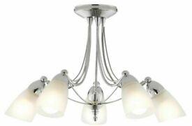 ~ B&Q Venus Chrome Effect 5 Lamp Ceiling Light Fitting ~