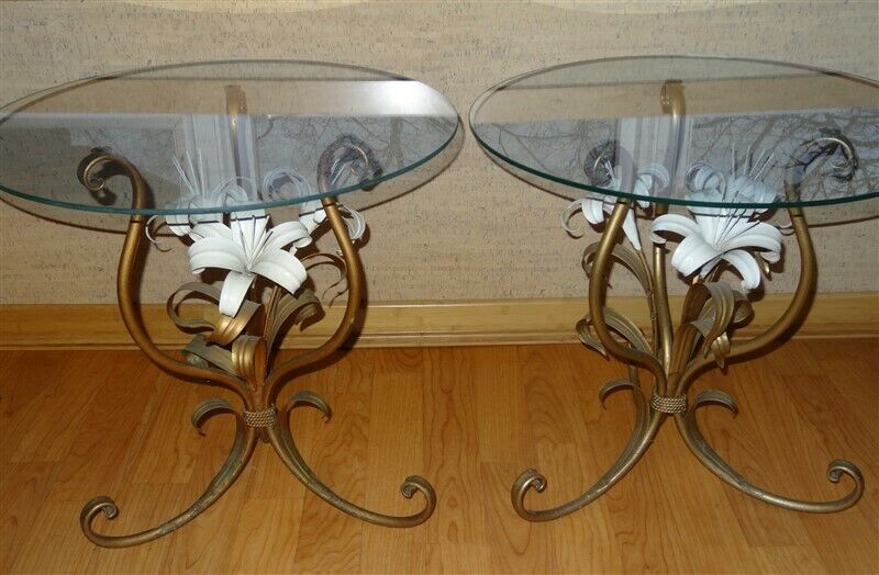 PAIR Of Mid-Century Hollywood Regency Gold Tole Lily Glass Top Tables * Italy