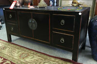 asian tv cabinet, 2 doors 4 drawers