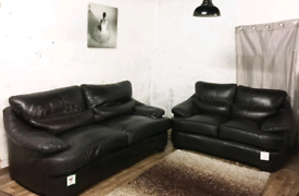 ;; Real leather Dark brown 3+2 seater sofas
